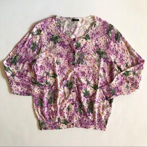 J crew purple floral sweater cardigan size large